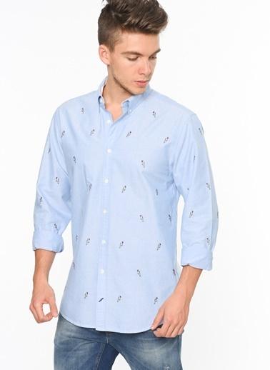 Tommy Hilfiger Desenli Uzun Kollu Gömlek Mavi